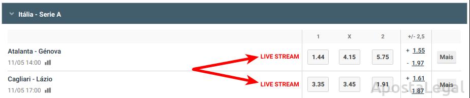 LiveStream na Betano