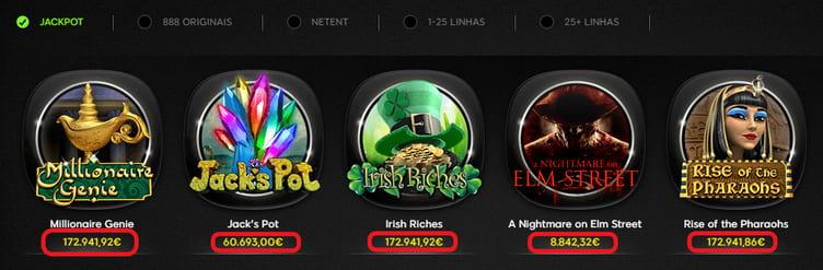 jackpots em slots no 888casino