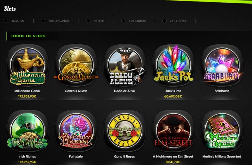 variedade de slots no 888casino