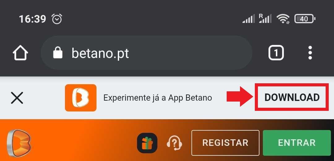 Download da App Betano
